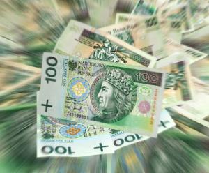 Polish flying money 100 zl concept