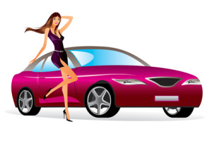 Fashion model with a new car - vector illustration